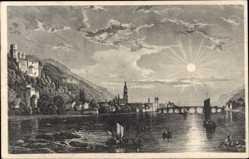 Künstler Ak Frommel, Heidelberg am Neckar, Oberhalb der Brücke, Sonnenuntergang