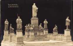 Postcard Worms in Rheinland Pfalz, Ansicht vom Lutherdenkmal
