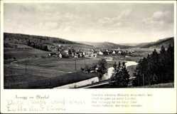 Postcard Arnegg Blaustein Blautal, Totalansicht der Ortschaft, Fluss, Felder