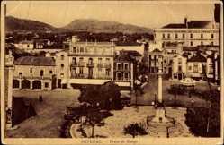 Postcard Setúbal Portugal, Praca de Bocage, Platz, Denkmal