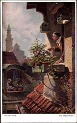 Künstler Ak Spitzweg, Carl, Die Dachstube, Mann gießt Blumen, Primus 3066