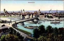 Postcard Schweinfurt in Unterfranken Bayern, Stadtblick, Flusspartie, Brücke