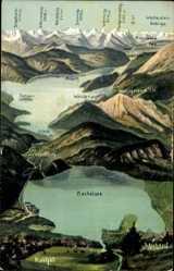 Landkarten Ak Kochel am See in Oberbayern, Schlehdorf, See, Alpen