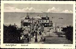 Postcard Ostseebad Ahlbeck Heringsdorf, Blick auf den Strand mit Seebrücke