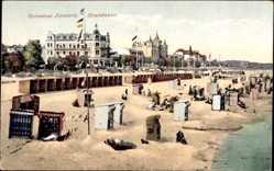 Postcard Ostseebad Zinnowitz, Das Strandleben mit Umgebung