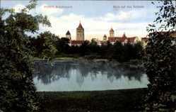 Ak Poznań Posen, Schillerpark, Blick auf das Schloss, Türme