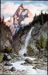 Künstler Ak Splitgerber, Gebirge, Wasserfall, Nadelbäume