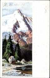 Künstler Ak Splitgerber, Gebirge im Winter, See, Nadelbäume
