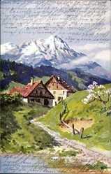Künstler Ak Splitgerber, Frühlingyidyll, Bauernhaus, Gebirge