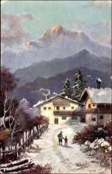 Künstler Ak Schröpler, Berghaus im Winter, Vater mit Kind, Gebirge