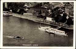 Postcard Kaiserswerth Düsseldorf am Rhein, Fliegeraufnahme, Salondampfer Anleger