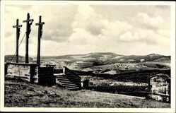 Postcard Wildflecken im Spessart Unterfranken, Kreuzigungsgruppe, Landschaft