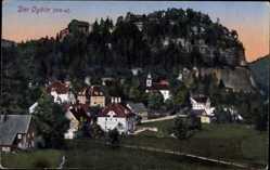 Postcard Oybin Zittauer Gebirge, Teilansicht der Stadt mit Blick auf Berg