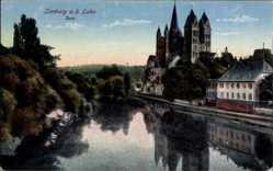 Postcard Limburg Lahn, Blick auf den Dom, Flusspartie, Glockenturm
