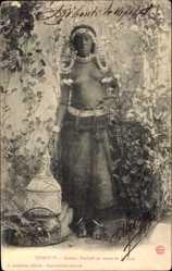 Ansichtskarte / Postkarte Dschibuti, Femme Dankali en tenue de brousse, Barbusige junge Frau