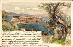 Künstler Litho Wielandt, Manuel, Monaco, Landzunge im Wasser, Blick aus der Höhe