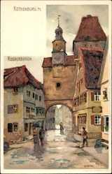 Künstler Litho Mutter, K., Rothenburg o. T., Blick auf Röderbogen