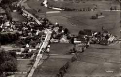 Postcard Pfaffenhofen, Stadtpanorama, Luftbild, Häuser, Straße, Felder