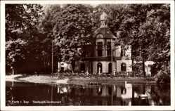 Postcard Fürth Bayern, Blick auf das Stadtparkrestaurant, See, Turm, Ufer, Terrasse