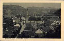 Postcard Hausach, Gutachtal, Stadtpanorama, Glockenturm, Häuser, Berge