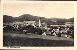 Postcard Stadtsteinach, Stadtpanorama, Stadthäuser, Glockenturm, Feldwiesen