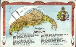 Landkarten Wappen Ak Insel Amrum in Nordfriesland, Wappen, Gedicht
