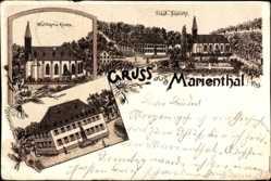 Litho Marienthal Geisenheim, Wallfahrtskirche, Kloster, Total Ansicht