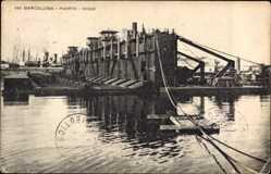 Postcard Barcelona Katalonien, Puerto, Dique, Anlagen im Hafen