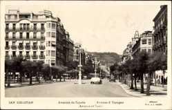Postcard Donostia San Sebastián Baskenland, Avenida de Espana, Straßenpartie