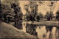Postcard Groningen Niederlande, Noorder Plantsoen, Grünanlagen, Wasserpartie