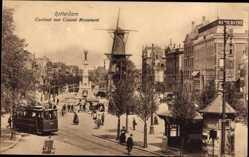 Postcard Rotterdam Südholland, Coolvest met Caland Monument, Straßenbahn, Windmühle