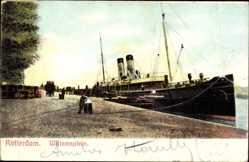Postcard Rotterdam Südholland Niederlande, Willemsplein, Schiff im Hafen