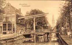 Postcard Amsterdam Nordholland Niederlande, Groeneburgwal, Hebebrücke