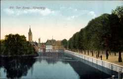 Postcard 's Gravenhage Den Haag Südholland, Vijverberg, Promenade am Wasser