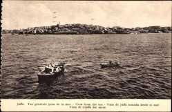 Postcard Tel Aviv Jaffa Israel, Vue générale prise de la mer, Wasserblick zum Ort hin