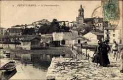 Postcard Fuenterrabia Baskenland, El Desembarcadero, Ortschaft, Kirche, Uferpartie