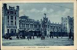Postcard Valencia Stadt Spanien, Estación del Norte, Straßenpartie am Bahnhof