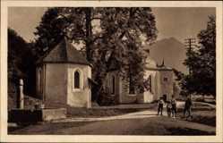 Postcard Oberstdorf, Blick auf die Wallfahrtskirche St Loretto, Kinder, Rundbögen