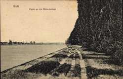 Postcard Kehl, Partie an der Rheinanlage, Spazierweg, Steg, Felswand