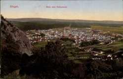 Postcard Singen, Stadtpanorama vom Hohentwiel, Fels, Häuser