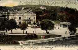 Postcard Baden Baden, Blick auf das Theater, Vorplatz, Passanten