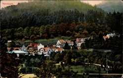 Postcard Bad Herrenalb, Stadtpanorama, Waldhang, Häuser, Fachwerk