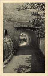 Postcard Frauenwörth Chiemsee, Blick auf das Frauentor, Umzäunung