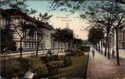 Postcard Dortmund, Partie am Königswall mit Grünanlagen