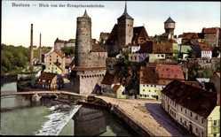 Postcard Bautzen, Blick von der Kronprinzenbrücke, Fluss, Turm