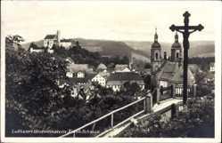 Postcard Gößweinstein Oberfranken, Blick vom Kreuz auf die Ortschaft