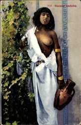 Ansichtskarte / Postkarte Giovane beduina, Junges Mädchen, Beduine, nackte Brust