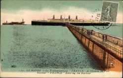 Postcard Le Havre Seine Maritime, Transatlantique France, Entrée du Pont, CGT