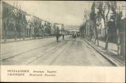 Postcard Saloniki Griechenland, Boulevard Hamidié, Straßenpartie