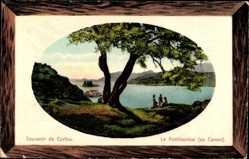 Präge Passepartout Ak Korfu Griechenland, Le Pontikonissi au Canon